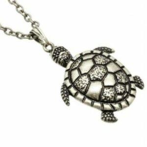 "Sea Turtle Necklace Silver 30"" X-Long Plus Size"
